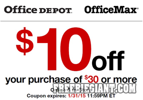 10 off 30 at office depot or office max printable coupon freebie giant get free stuff online - Office depot discount code ...