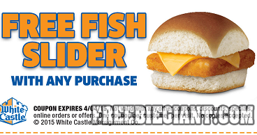 Free fish slider at white castle with any purchase for White castle double fish slider with cheese